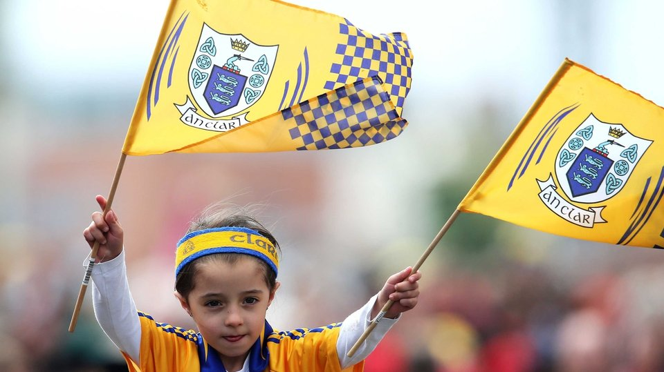 Clare supporter Caoimhe McClearn, 5, shows her support outside Croker