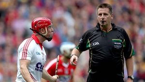 Anthony Nash seems to take takes issue with a decision from referee Brian Gavin