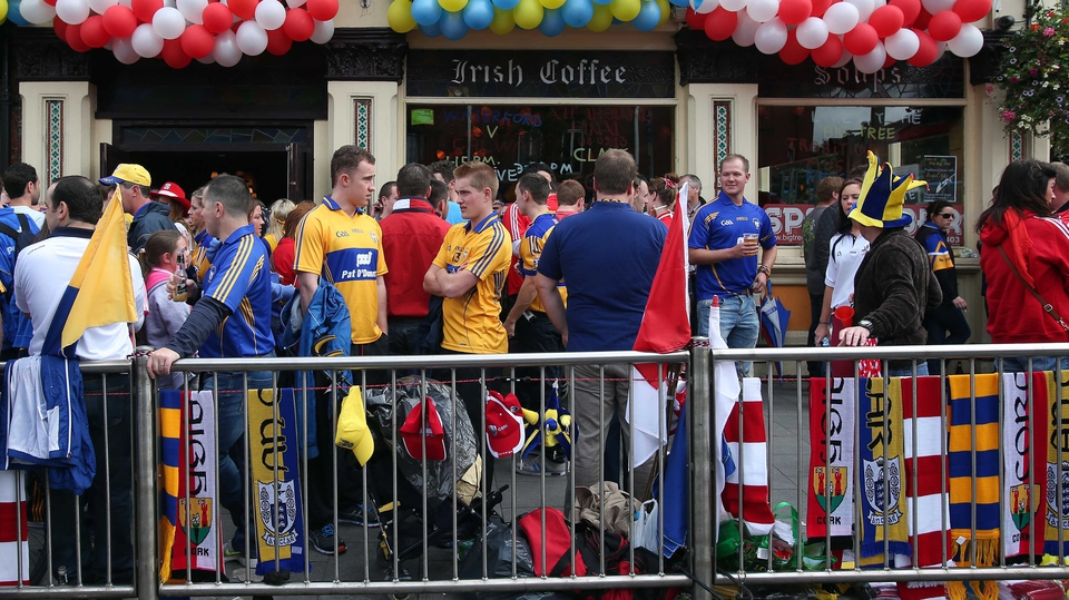 Fans gather outside a pub in Drumcondra before the game