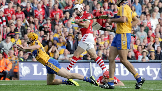 Pa Cronin smashes home a goal for Cork