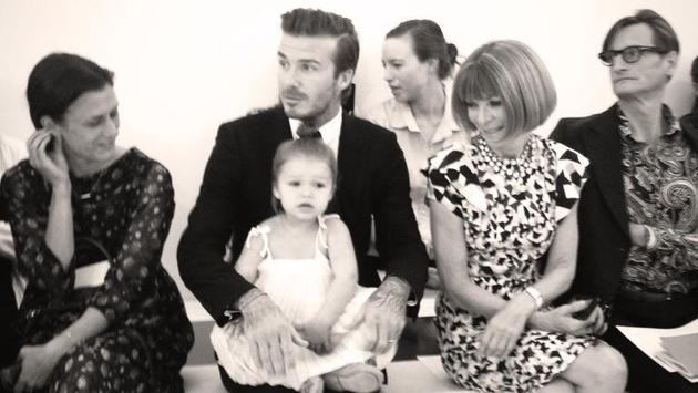 David and Harper Beckham front row at New York Fashion Week