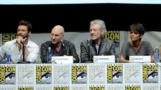 Hugh Jackman, Patrick Stewart, Ian McKellan and Halle Berry at Comic Con in July
