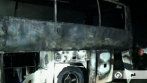 Two buses caught fire after collision