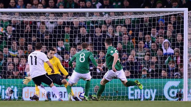 Martin Harnik scores the first goal against Ireland in Dublin in March