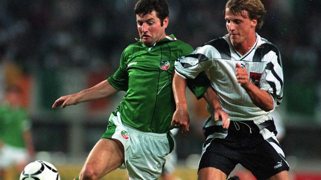 Flashback to 6 September 1995 - Denis Irwin battles with Austria's Markus Schoop in Vienna
