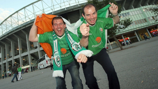 Ireland fans in great spirits outside the Ernst Happel Stadion