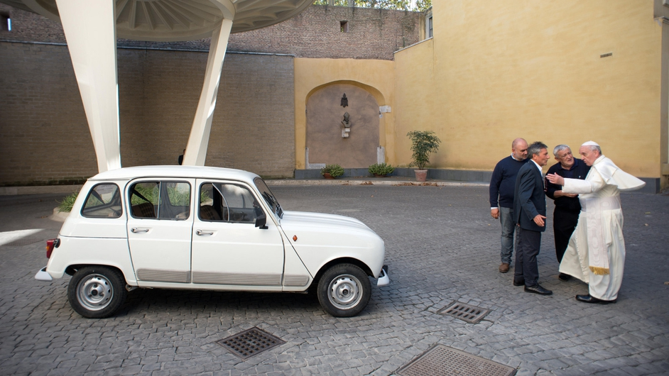 A priest from northern Italy gave the Pope a 1984 Renault 4 with about 300,000km on the clock