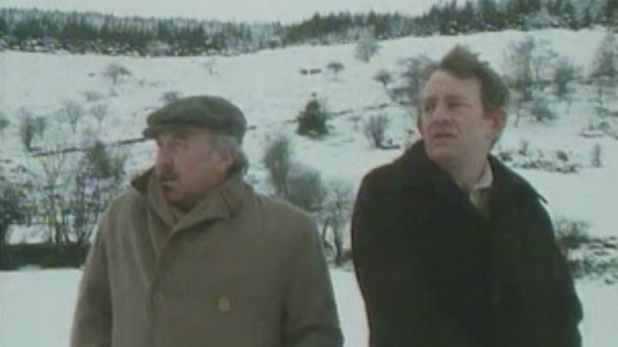 Dinny (Joe Lynch) and Miley (Mick Lally) in the first episode of 'Glenroe'.