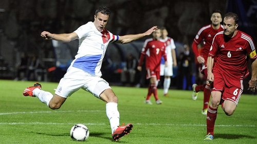 Robin van Persie's brace against Belarus brought his his international goals tally to 38