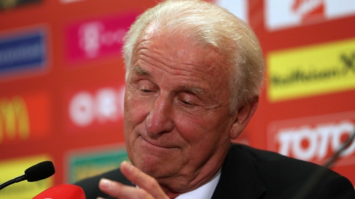 A subdued Giovanni Trapattoni faces the media in Vienna after last night's defeat to Austria