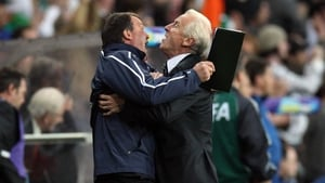 The Ireland manager and his assistant, Marco Tardelli, celebrate the first goal of the Trapattoni era against Serbia at Croke Park in May 2008