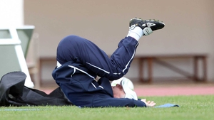 Bottoms up, Trap stretches after a training session in Portugal