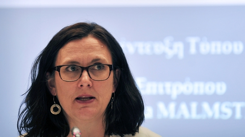 European Trade Commissioner Cecilia Malmstrom addressed the Davos gathering today