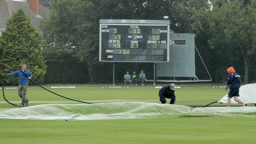 The covers were on for most of Day Two of the ICC clash between Ireland and Scotland in Clontarf