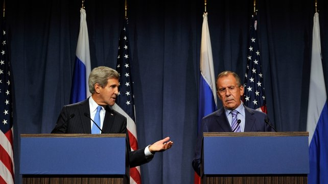 US Secretary of State John Kerry and Russian Foreign Minister Sergei Lavrov are holding talks in Geneva