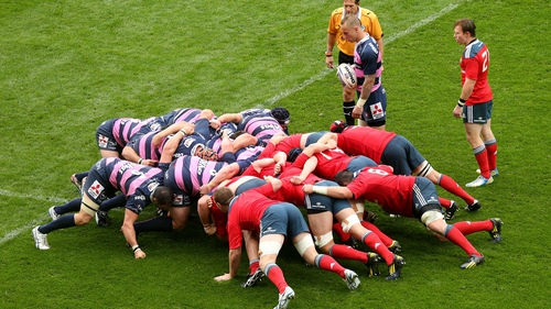 The Munster scrum prepares to engage
