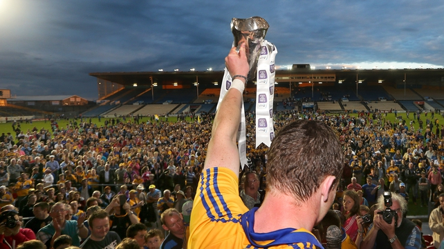 Clare captain Paul Flanagan faces the crowd after Clare won the Munster U21 title