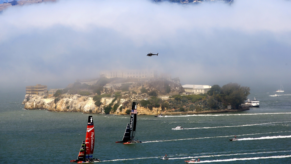 The fog also obscured Alcatraz Island during race three of the America's Cup