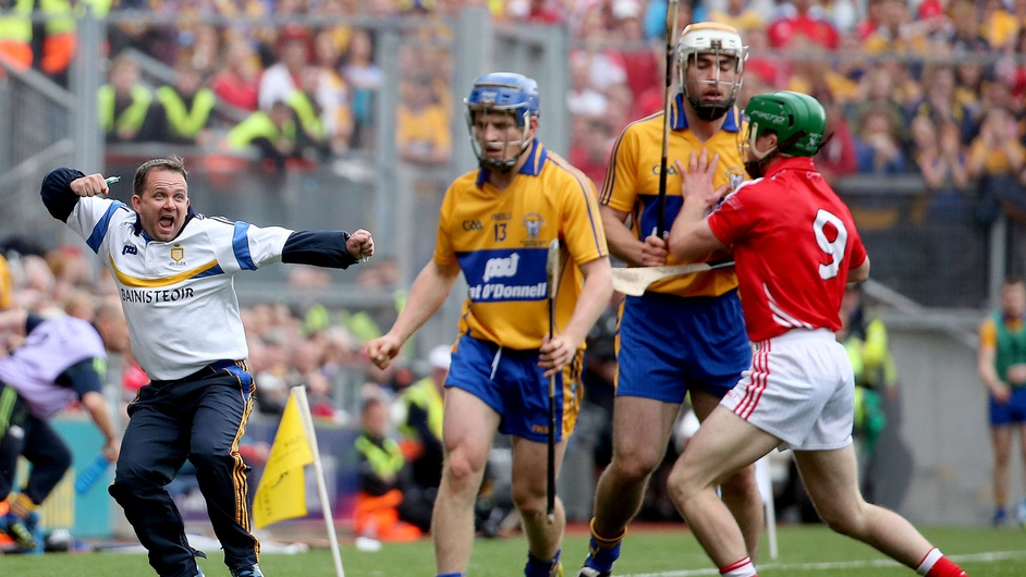 Clare hurling manager Davy Fitzgerald gets animated on the sideline during the drawn All-Ireland Hurling final between Cork and Clare