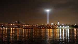 A view from Brooklyn of New York City and the 'Tribute In Light' marking the 12th anniversary of the attacks at the World Trade Center