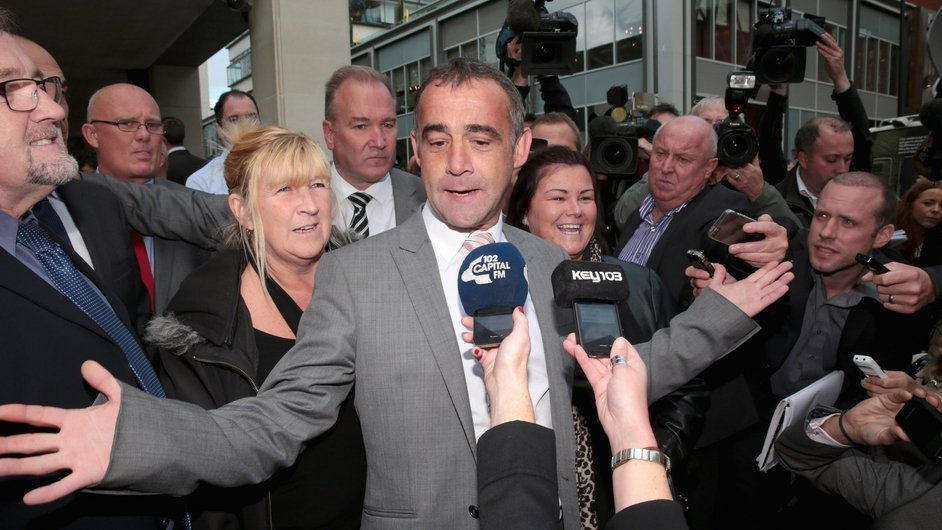 Michael Le Vell, who plays Kevin Webster in Coronation Street, makes a statement to the press after being found not guilty of rape charges
