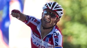 Rodriguez attacked in the final kilometre to take a solo victory at the summit finish of Alto de Naranco