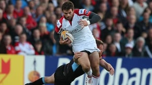 Ulster's Jared Payne escapes the attention of Glasgow Warriors' Rob Harley