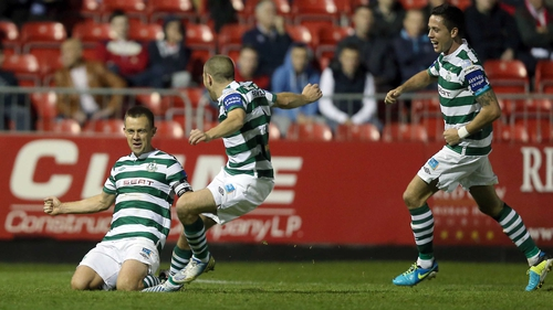 Shane Robinson celebrates Shamrock Rovers' second goal at Richmond Park