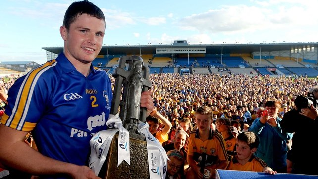 Clare captain Paul Flanagan with the trophy
