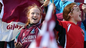 Young Galway fans cheer their camogie team on to All-Ireland glory against Kilkenny in Croke Park