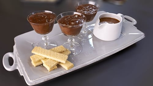 Chocolate Mousse, salted caramel sauce, shortbread biscuits