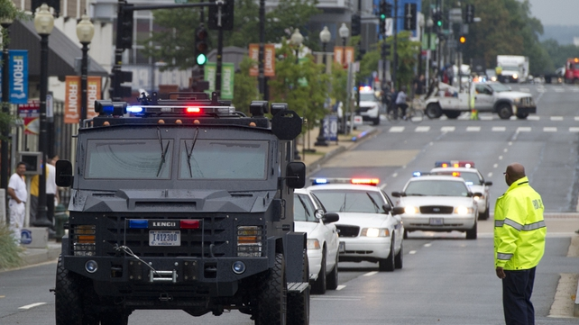 Police and emergency services respond to the navy yard incident