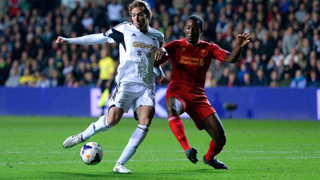 Michu fires home Swansea's second goal