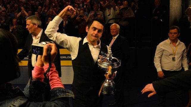Ronnie O'Sullivan celebrates his fifth world title