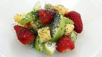 Chia bia simple fruit salad - This is a great salad to enjoy as a breakfast dish or to savour as a nice, light dessert. It's tasty and refreshing with all the added health benefits of Chia seeds. Use the best, seasonal fruit available – from peaches, to pears and other fresh berries.