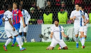 Manchester City striker Sergio Aguero celebrates his goal in the Czech Republic