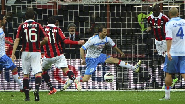 Giampaolo Pazzini scores against Catania