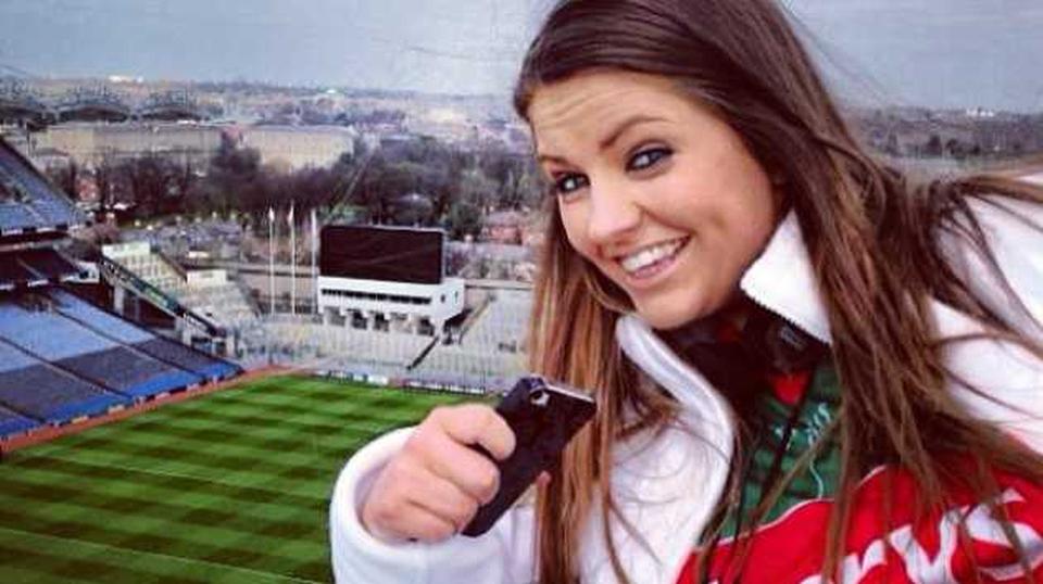Mayo fan Shelley O'Brien on top of Croke Park