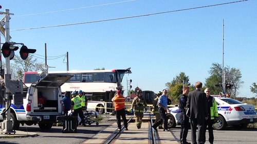 The front of the bus was sheared off in the collision
