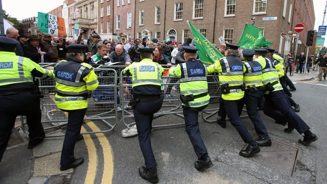 Protesters gathered outside Leinster House as politicians returned after the summer break