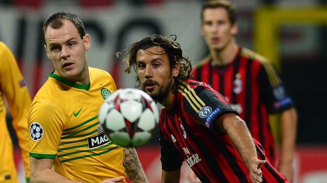 Celtic were beaten away to AC Milan tonight