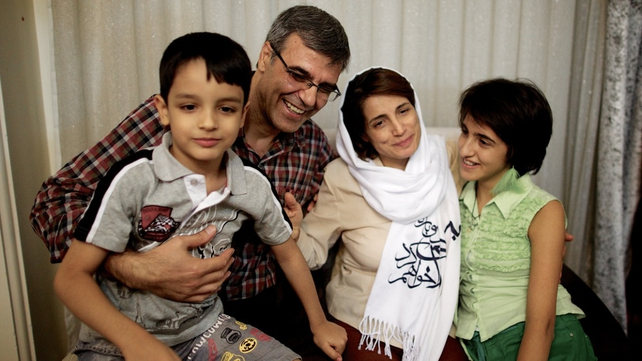 Nasrin Sotoudeh pictured with her husband Reza Khandan, son Nima and daughter Mehraveh at their home in Tehran after her release