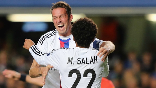 Mohamed Salah of FC Basel celebrates scoring their first goal with team-mate Marco Streller