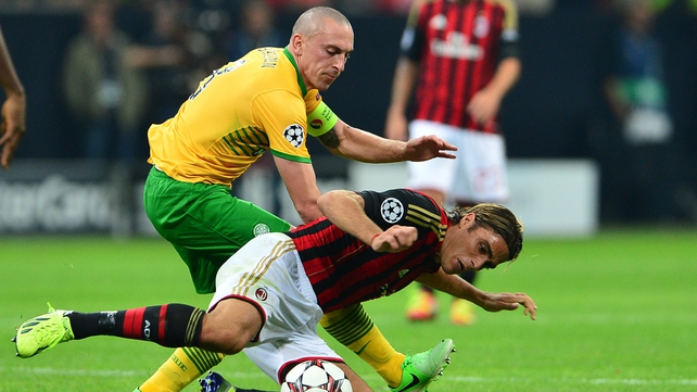 Celtic impressed in the earlier match at the San Siro before Milan grabbed two late goals for victory