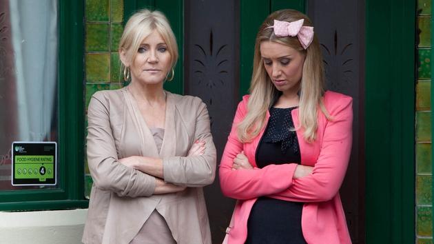 Doesn't look like Stella is too impressed Eva is seeing her ex-fella