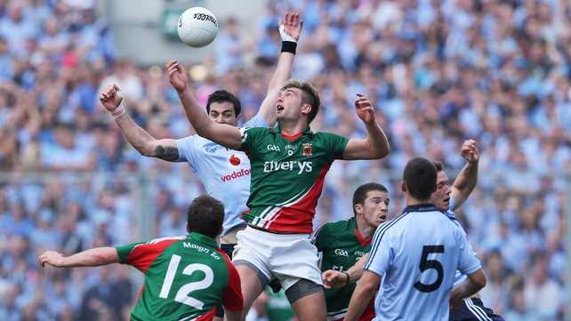 Michael Darragh MaCauley and Aidan O'Shea during the 2012 All-Ireland semi-final