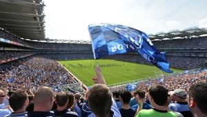 Dublin fans on Hill 16 hail their side ahead of the All-Ireland final against Mayo