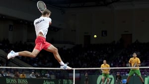 Poland's Mariusz Fyrstenberg appeared to have a bit of an unfair advantage in his nation's Davis Cup clash with Australia