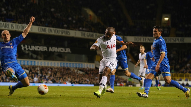 Jermain Defoe nets Tottenham's second goal against Tromso
