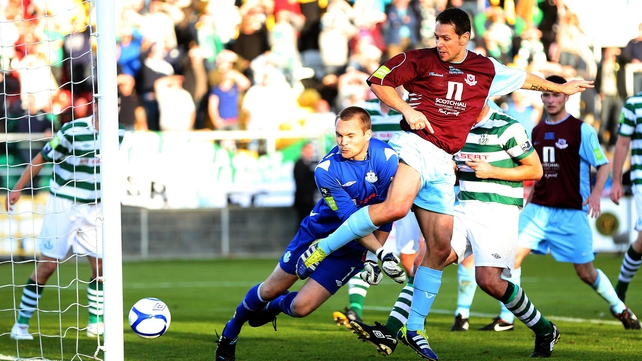 Declan O'Brien scores the opening goal in last year's final, which Drogheda won 3-1